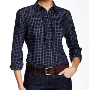 Barbour Tack Navy Plaid Ruffle Button Front Shirt
